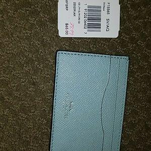 Nwt Coach cross-grain leather glitter card case